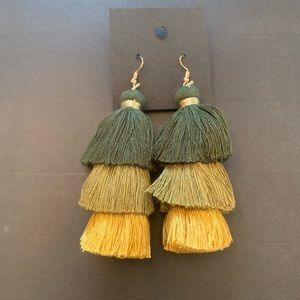 Green and Yellow Ombré Fringe Earrings